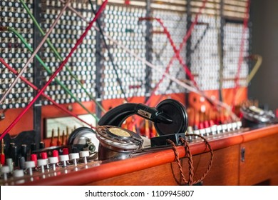 Selective focus, old fashioned manual telephone exchange switchboard