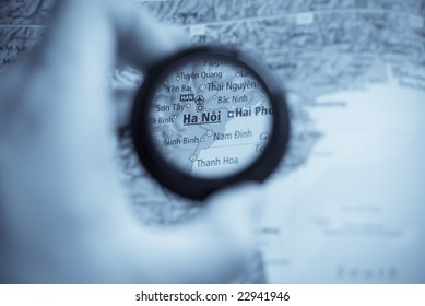 Selective focus on antique map