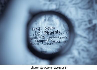 Selective focus on antique map of Phoenix