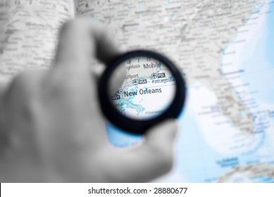 Selective focus on antique map of New orleans