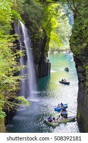 selective focus on beautiful waterfalls in takachiho gorge , miyazaki , japan