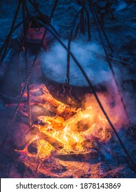Selective focus on boiling cauldron with mysterious decoction on a campfire at night witch sabbath. Kupala Night, called in Poland Noc Kupaly, Cedynia - Shutterstock ID 1878143869