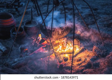 Selective focus on boiling cauldron with mysterious decoction on a campfire at night witch sabbath. Kupala Night, called in Poland Noc Kupaly, Cedynia - Shutterstock ID 1878143971