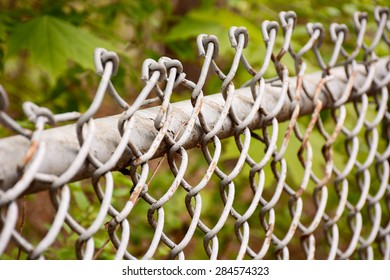 Selective focus on a chain link fence at a park./Chain link fence