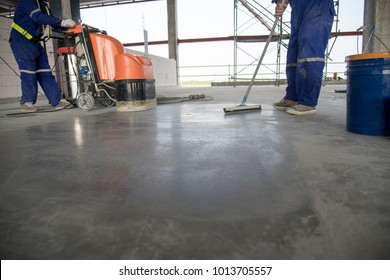 Selective focus on epoxy floor in warehouse factory japan construction site ,polishing stone concrete