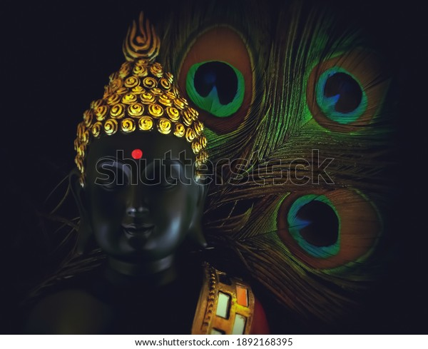selective focus on face of buddha with peacock feather behind isolated over black background