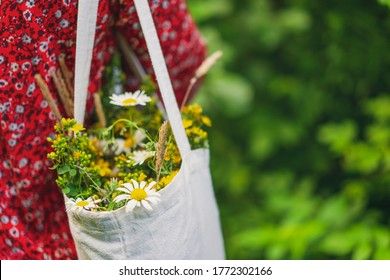 Selective focus on field flowers bouquet in linen textile bag on woman's shoulder, View from behind, green nature summer background. Wild plants and herbs. Greeting card, travel, vacation concept.