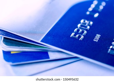 Selective focus on the front numbers on credit card