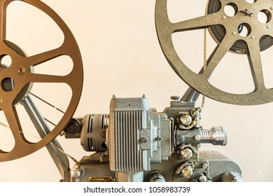 Selective focus on movie machine, abstract automotive  bacgound.
