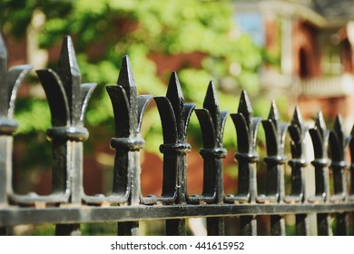 Selective focus on an ornamental fence finial with very shallow depth of field. /Ornamental Fence Finials
