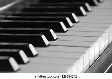 Selective focus on piano keys