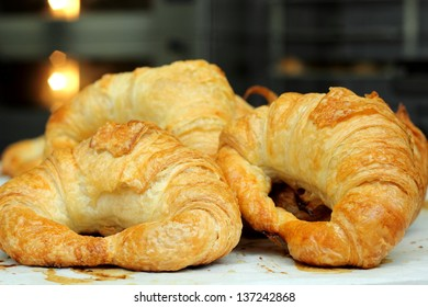 A Selective focus on the right croissant