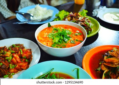 selective focus on spicy sea food soup in Thailand it call TOMYUM,Asian food