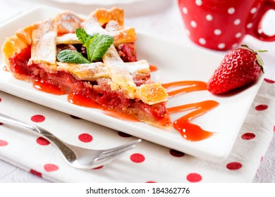 Selective focus on th front part of strawberry pie