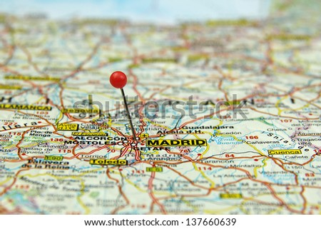 Selective Focus On Tourist Map Madrid Spain Stock Photo (Edit Now ...