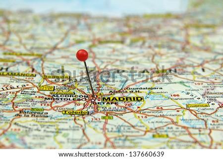 Madrid Spain Map Tourist.Selective Focus On Tourist Map Madrid Spain Stock Photo Edit Now