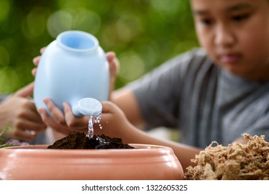 Selective focus on water pot shower on black soil on child hand. Earth day concept. in black soil on child hand. Earth day concept.