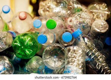 Selective focus, Plastic bottle in recycle waste, Garbage disposal management concept.