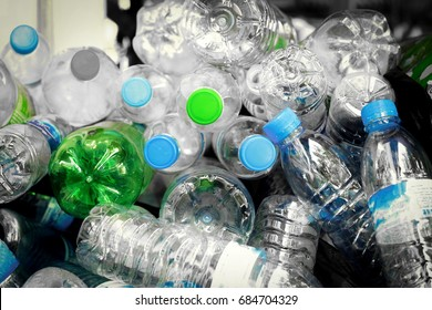 Selective focus plastic bottle in recycle waste,Management Recyclable concept.