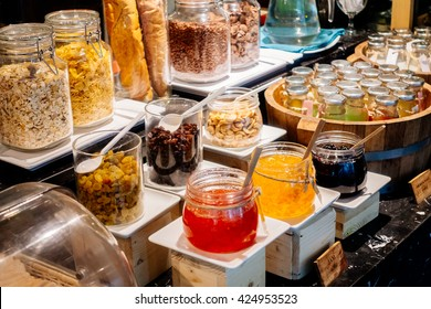 Selective focus point on Breakfast buffet catering in hotel restaurant - Vintage Light Filter