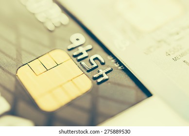 Selective focus point on Credit card background - Vintage effect style pictures
