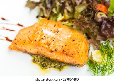 Selective focus point on grilled salmon steak