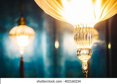 Selective focus point on Morocco light lantern decoration in living room interior - Vintage Light Filter