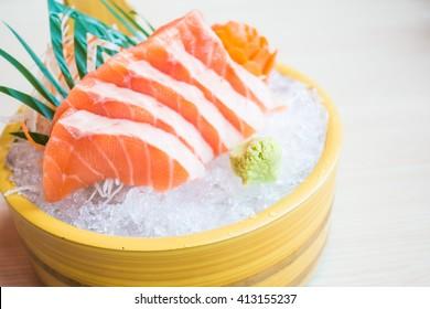Selective focus point salmon Sashimi dish - Japanese food style