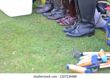 Selective focus the polo boots on begin the Horse polo match.