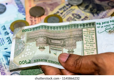 Selective Focus. Profit from business. Texture and background new 500 Indian rupee currency ready for business investment. Corruption clampdown of Indian government with new series of Indian Rupee.