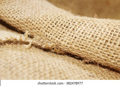 Selective focus of sack texture background