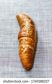 Selective focus, salted croissant Hungarian style on natural background