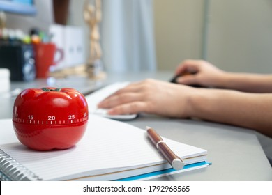 A selective focus shot of a kitchen timer in the form of a tomato on a notebook with a female working on her computer in the background