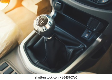 Selective focus six speed gear shift in truck car . Gear transmission.copy space.