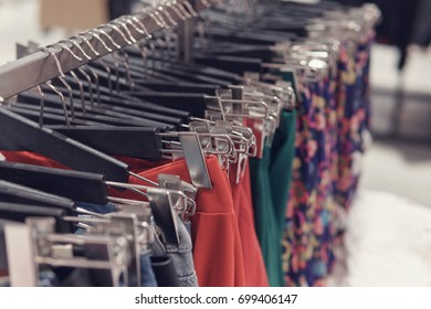 Selective focus skirts hanged on a clothes rack