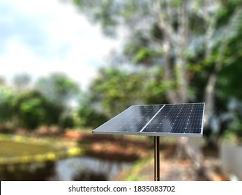 Selective focus of Solar cell or Photovoltaics module (PV module, Solar module) with blurred background.