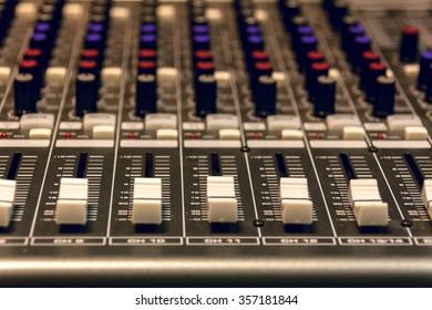 selective focus sound mixer background.