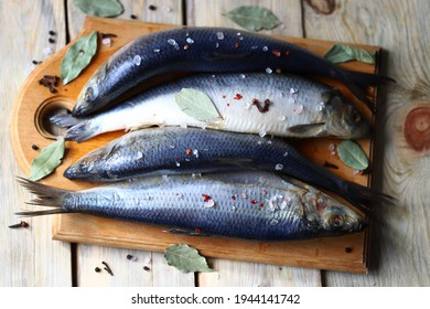 Selective focus. Spicy salted herring. Whole salted herring. Norwegian herring. Saltwater fish omega 3.