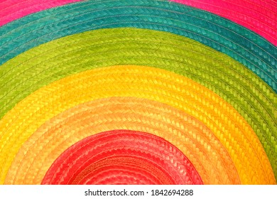 In selective focus spiral muticolored Sombrero hat with velvet color and hat texture details