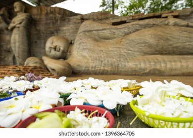 (Selective focus) Stunning view of blurred statue of the Reclining Buddha and Monk Ananda carved in stone with beautiful flowers in the foreground. Gal Viharaya, Polonnaruwa, Sri Lanka.