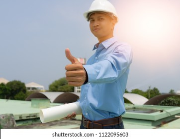 selective focus, Successful thumbs up after good jop by engineer man,