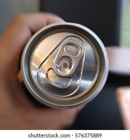 a selective focus top view of easy open can