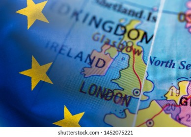Selective focus to the United Kingdom on a world globe composited with the European flag in a concept of Brexit