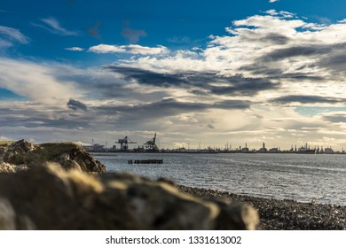 Selective focus. View of industry. South Gare. Located on the north east coast of England.