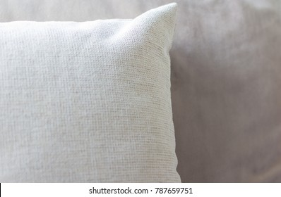 Selective focus white pillow. Background