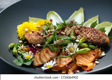 Selective focus wild herbs salad with grilled salmon, carrot, wild garlic buds, roasted sunflower kernels,chicory and  maple leaves . Garnished with edible wild flowers, dandelion and daisy flowers.