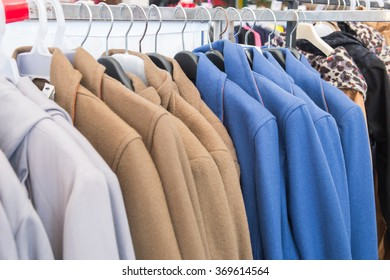 Selective focus winter jackets  on rack