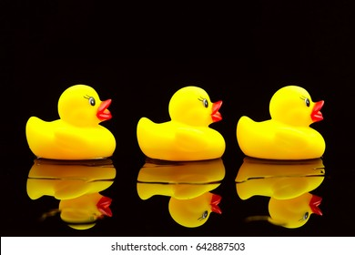 Selective focus of yellow rubber duck on black background.