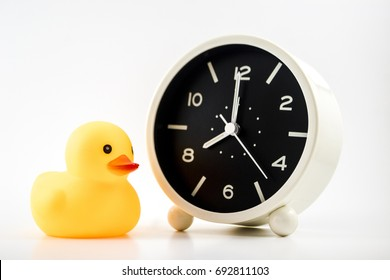 Selective Focus, Yellow rubber duck with Alarm clock isolated.