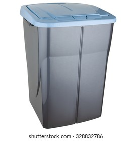 Selective trash can made of gray plastic with blue lid